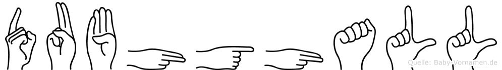 Dubhghall im Fingeralphabet der Deutschen Gebärdensprache