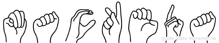 Mackeda im Fingeralphabet der Deutschen Gebärdensprache