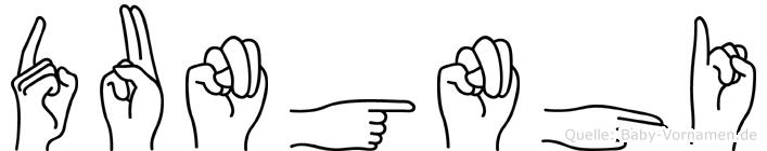 Dungnhi im Fingeralphabet der Deutschen Gebärdensprache