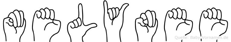 Melynee im Fingeralphabet der Deutschen Gebärdensprache
