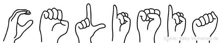 Celisia im Fingeralphabet der Deutschen Gebärdensprache