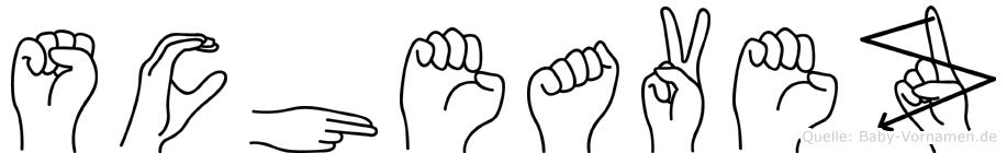 Scheavez im Fingeralphabet der Deutschen Gebärdensprache