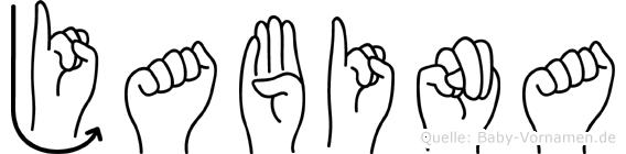 Jabina im Fingeralphabet der Deutschen Gebärdensprache