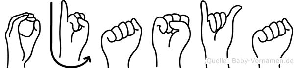 Ojasya im Fingeralphabet der Deutschen Gebärdensprache