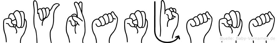 Nyranjana im Fingeralphabet der Deutschen Gebärdensprache