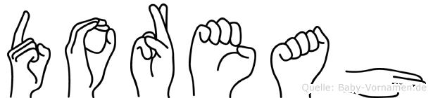 Doreah im Fingeralphabet der Deutschen Gebärdensprache