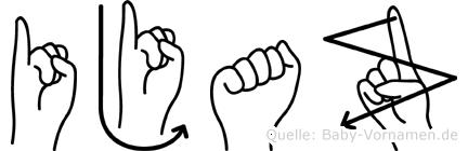 Ijaz im Fingeralphabet der Deutschen Gebärdensprache