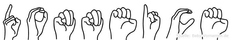 Donneice im Fingeralphabet der Deutschen Gebärdensprache