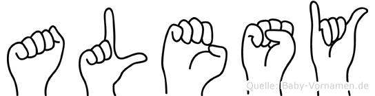 Alesy im Fingeralphabet der Deutschen Gebärdensprache