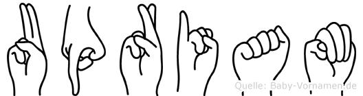 Upriam in Fingersprache für Gehörlose