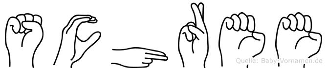 Schree im Fingeralphabet der Deutschen Gebärdensprache