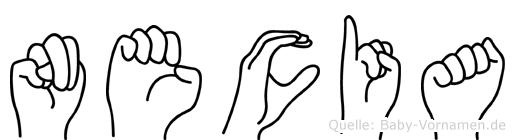 Necia im Fingeralphabet der Deutschen Gebärdensprache