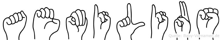 Aemilius im Fingeralphabet der Deutschen Gebärdensprache
