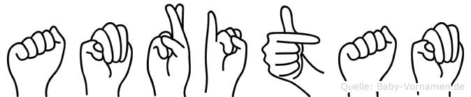 Amritam im Fingeralphabet der Deutschen Gebärdensprache