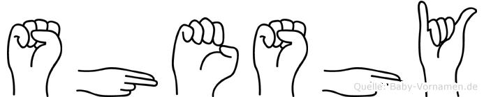 Sheshy im Fingeralphabet der Deutschen Gebärdensprache