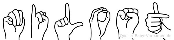 Milost im Fingeralphabet der Deutschen Gebärdensprache