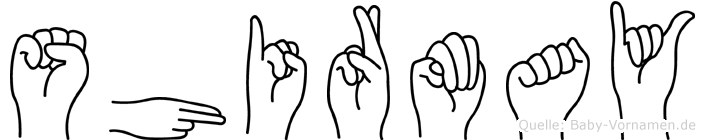 Shirmay im Fingeralphabet der Deutschen Gebärdensprache