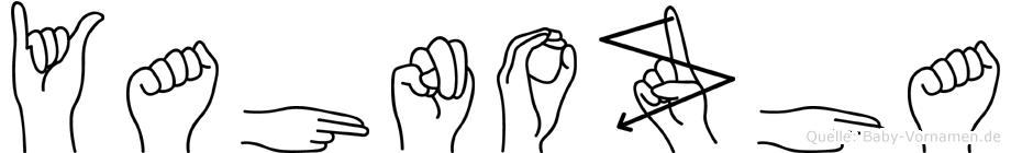 Yahnozha im Fingeralphabet der Deutschen Gebärdensprache