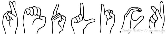 Redlick im Fingeralphabet der Deutschen Gebärdensprache