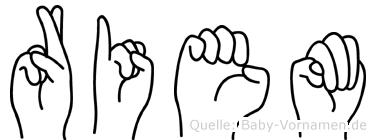 Riem im Fingeralphabet der Deutschen Gebärdensprache