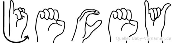 Jecey im Fingeralphabet der Deutschen Gebärdensprache