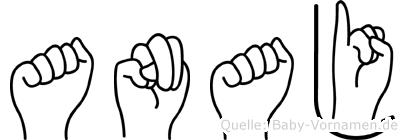 Anaj im Fingeralphabet der Deutschen Gebärdensprache