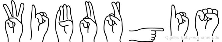 Wiburgis im Fingeralphabet der Deutschen Gebärdensprache