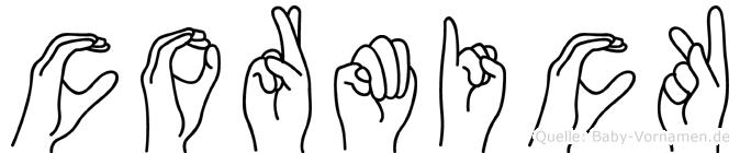 Cormick im Fingeralphabet der Deutschen Gebärdensprache