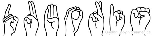 Duboris im Fingeralphabet der Deutschen Gebärdensprache