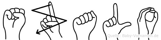 Szalo im Fingeralphabet der Deutschen Gebärdensprache
