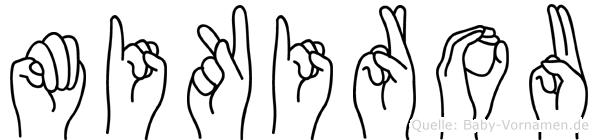 Mikirou im Fingeralphabet der Deutschen Gebärdensprache