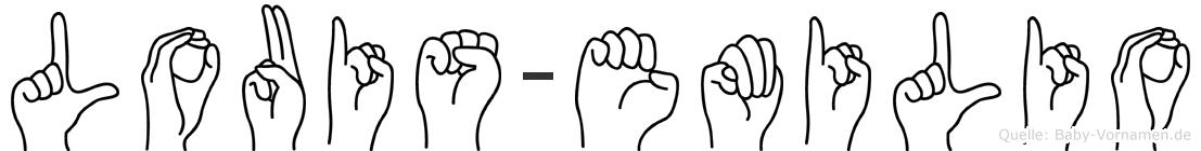 Louis-Emilio im Fingeralphabet der Deutschen Gebärdensprache