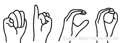 Mico im Fingeralphabet der Deutschen Gebärdensprache