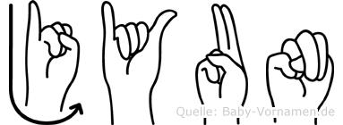Jyun in Fingersprache für Gehörlose