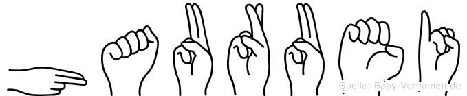 Hauruei im Fingeralphabet der Deutschen Gebärdensprache