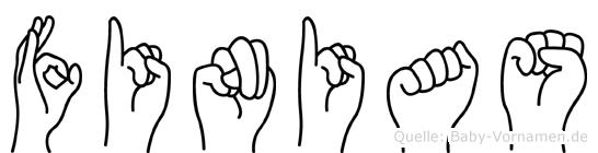 Finias in Fingersprache für Gehörlose