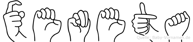 Xeneta im Fingeralphabet der Deutschen Gebärdensprache