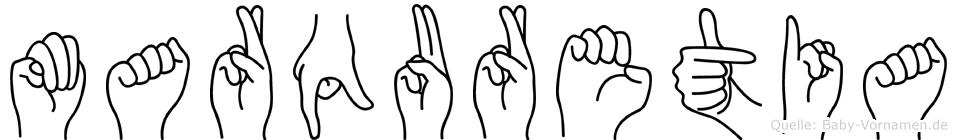 Marquretia im Fingeralphabet der Deutschen Gebärdensprache