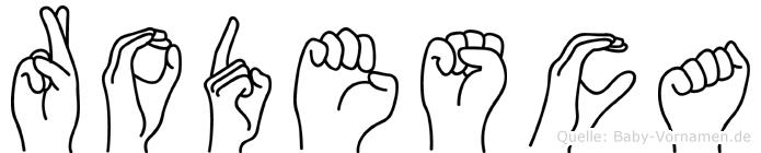 Rodesca im Fingeralphabet der Deutschen Gebärdensprache