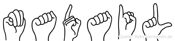 Madail im Fingeralphabet der Deutschen Gebärdensprache