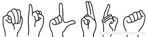 Miluda im Fingeralphabet der Deutschen Gebärdensprache