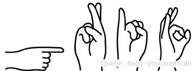 Grif im Fingeralphabet der Deutschen Gebärdensprache