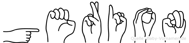 Gerion im Fingeralphabet der Deutschen Gebärdensprache