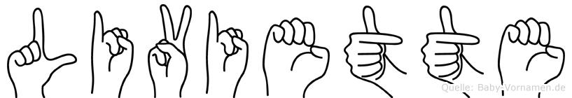 Liviette im Fingeralphabet der Deutschen Gebärdensprache