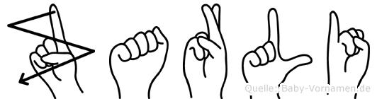 Zarli in Fingersprache für Gehörlose