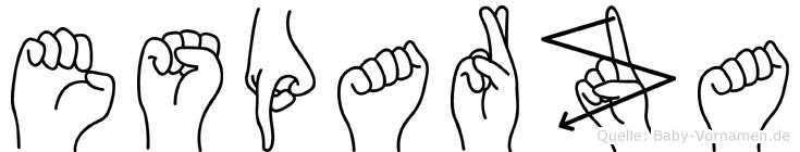 Esparza im Fingeralphabet der Deutschen Gebärdensprache