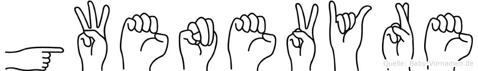 Gwenevyre im Fingeralphabet der Deutschen Gebärdensprache