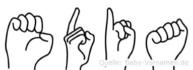 Edia im Fingeralphabet der Deutschen Gebärdensprache