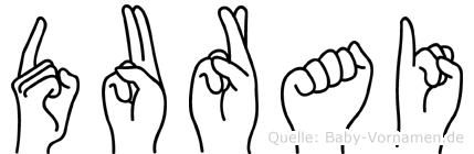 Durai im Fingeralphabet der Deutschen Gebärdensprache