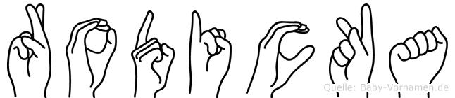 Rodicka im Fingeralphabet der Deutschen Gebärdensprache